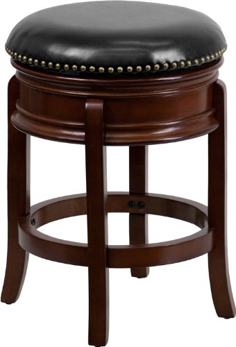 Flash Furniture 24'' High Backless Cherry Wood Counter Height Stool with Black Leather Swivel Seat - 24 Black Cherry Counter