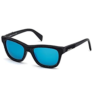Sunglasses Diesel DL 111 DL0111 01X shiny black / blu mirror
