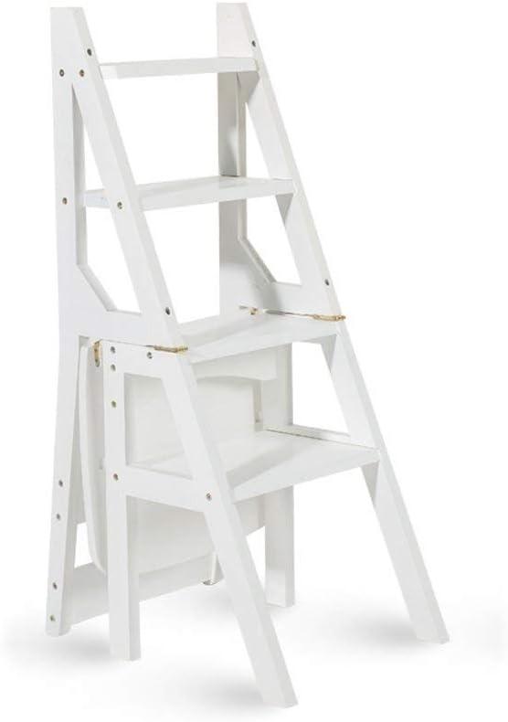 Silla De Escalera De Madera Maciza, Cocina De Uso Doméstico Silla De Escalera Plegable De Doble Uso Mueble Escalera De 3 Escalones Elevador Ascendente (tamaño: 80 × 90 Cm) (Color : White): Amazon.es: Electrónica