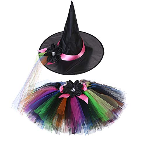 AQTOPS Girls Halloween Witch Role Play Costume Wizard Tutu Skirt with Hat