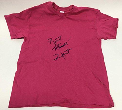 The Bret Hitman Costume (Bret Hitman Hart Autographed Pink Wrestling T-Shirt)