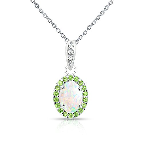 Sterling Silver Simulated White Opal and Simulated Peridot Oval Halo Necklace