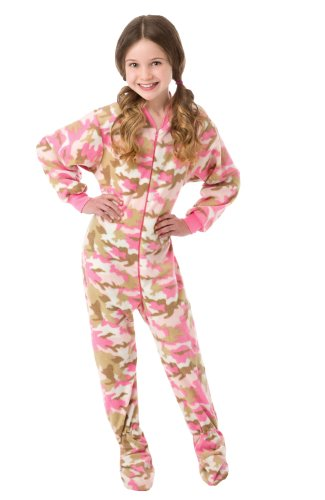 Big Feet Pjs Big Girls Pink Camo Kids Footed Pajamas (L) (Teens Pajamas Footed)