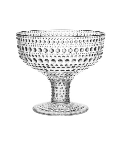 Iittala Kastehelmi Footed Bowl, 4-Inch, Clear (Glass Candy Pressed)