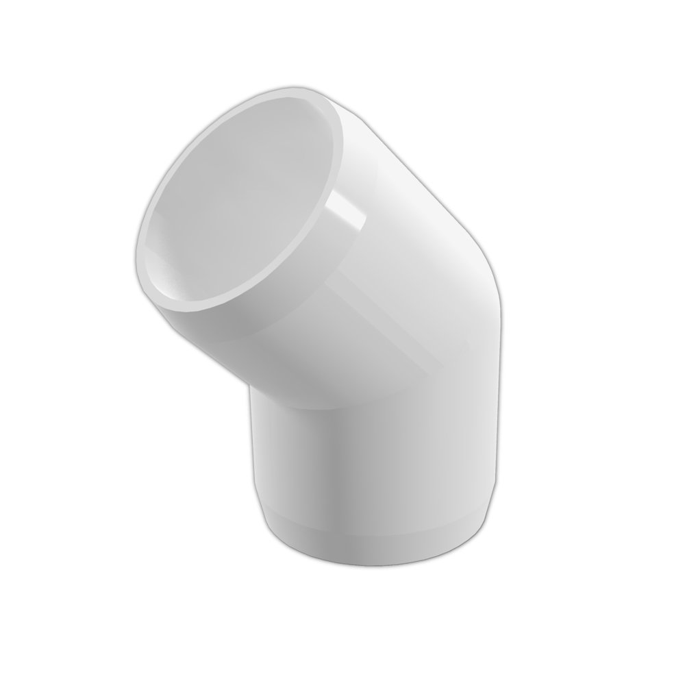 "FORMUFIT F03445E-WH-8 45 degree Elbow PVC Fitting, Furniture Grade, 3/4"" Size, White (Pack of 8)"