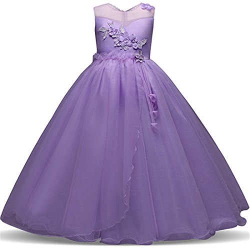 Big Dresses for Girls Size 7-16 for Wedding Formal Tulle Ball Gown Party Prom Princess Pageant Elegant Bridesmaid Dresses Girls 14-16 15 Years Age of 14 Teen Girl Children Gowns ( Purple 170 ) -