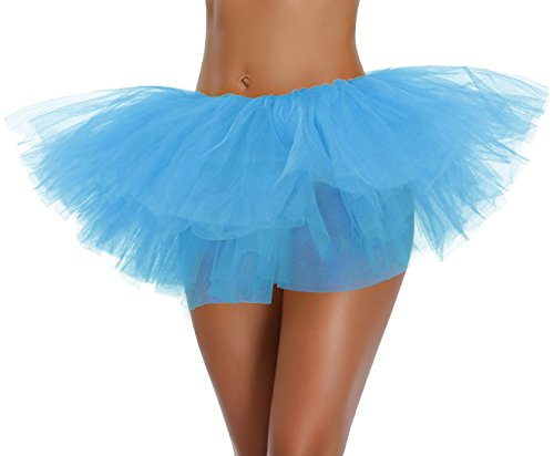 v28 Womens Teen Adult Classic 5 Layered Full Tulle Tutu Skirt (One Size, SkyBlue 5Layer)