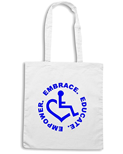 T-Shirtshock - Bolsa para la compra FUN0067 3e love embrace educate empower sticker 80183 Blanco