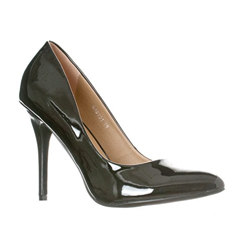 Riverberry Women's Gaby Pointed Closed Toe Stiletto Pump Heels, Black Patent, 7 Black Patent Pointed Toe Pump