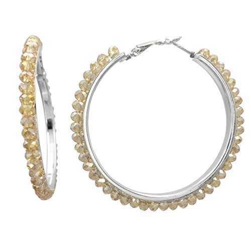 (Beveled Glass Bead Silver Tone Hoop Earrings -Assorted Colors (Topaz Brown Color) )
