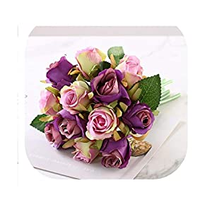 12PCS/Lots Artificial Rose Flowers Wedding Bouquet Royal Rose Silk Flowers for Home Decoration Wedding Party Decor,Purple Pink 20