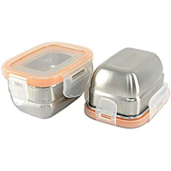 Mighty Hippo Rectangle Stainless Steel Mini Container - 2 Pack Set - Spill and Leak Proof / Perfect for Salad Dressings - Dips - Sauces - Condiments - Baby Food and Snacks / Adult and Kid Friendly