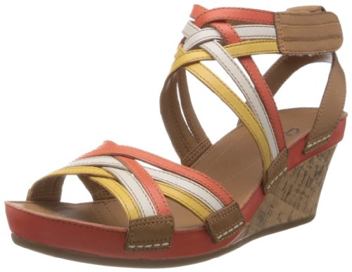 Clarks Womens Rusty Free Orange Leather Fashion Sandals - 6 UK