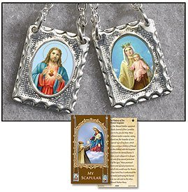 Metal Scapular 5/8 Inch Medal Sacred Heart of Jesus and Our Lady of Mount Carmel on 25 Inch Chain