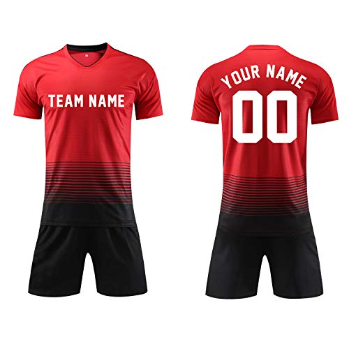 Custom Personalized Your Soccer Jerseys & Shorts,Custom Any Name Number Team Sports Training Uniforms (Adults Size M, White)