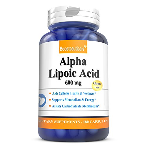 Alpha Lipoic Acid 600mg 180 Capsules - 100% Pure Lipoic Acid ALA Supplements by BoostCeuticals by BoostCeuticals
