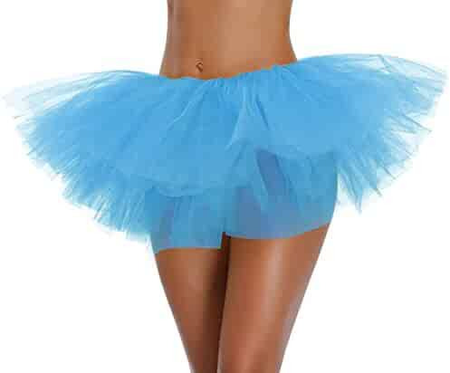 v28 Women's Teen Adult Classic 5 Layered Full Tulle Tutu Skirt (One Size, SkyBlue 5Layer)