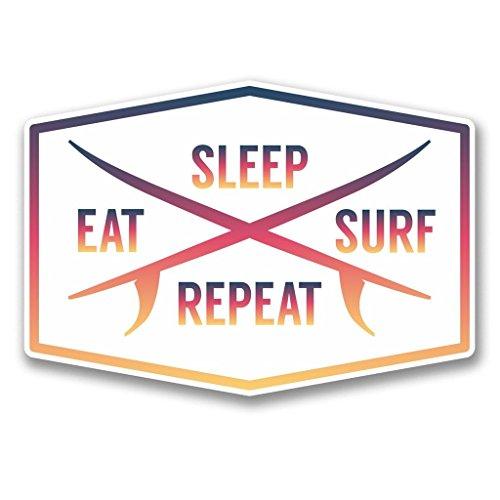 2 x 10cm/100mm Eat Sleep Surf Repeat WINDOW CLING STICKER Car Van Campervan Glass #6309