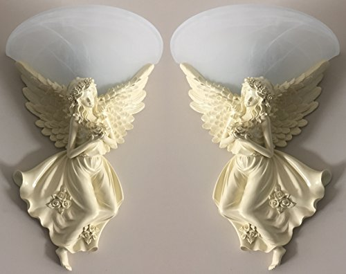 Angels Sconce - FixtureDisplays Angel Wall Sconces Fixture Light Hall Bedroom Lamp Bulb 15861-2PK