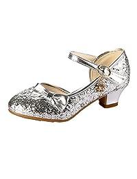 JHMY Girls Princess Dress Shoes Sequins Bowknot Kids Party Low Heels Pumps