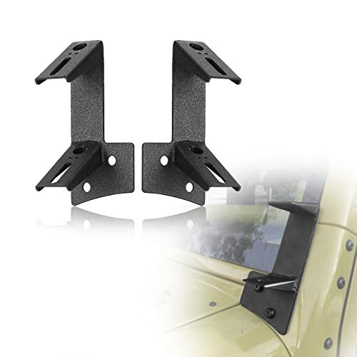 AUXMART Dual A-Pillar Mounting Brackets for LED Light Bar Work lights Fit 2007-2017 Jeep Wrangler JK/JKU 2DR 4DR (1 Pair,Black) ()