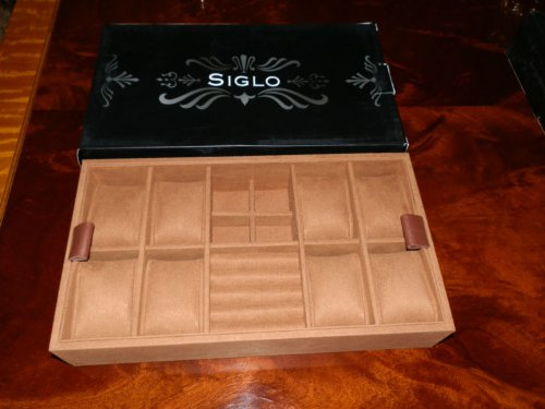 SIGLO SUEDE/LEATHER JEWELRY TRAY FOR 75 CIGAR HUMIDOR