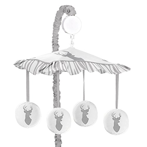 Grey and White Woodland Deer Boys Musical Baby - Bed Canopy Wall Mount