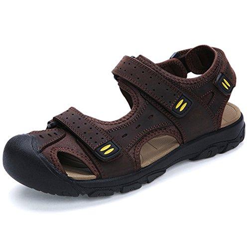 Deer Hombres Sandles Leather Athletic Sport Beach Zapatos Zapatos Marrón Oscuro