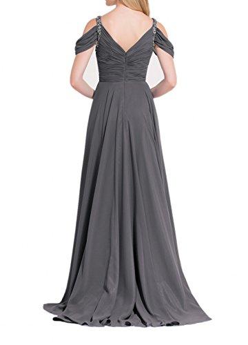 Partykleider Dunkel Abschlussballkleider V A Grau Ausschnitt Chiffon Linie Abendkleider Grau Damen Dunkel Charmant Lang Bq87wWg0x