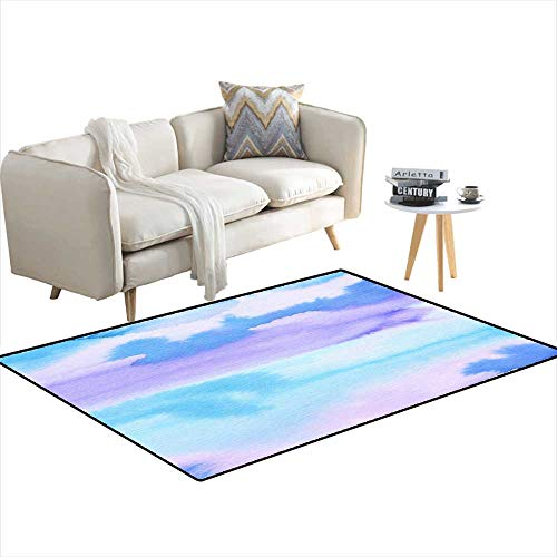 Room Home Bedroom Carpet Floor Mat Blue Abstract Watercolor backgrounfor Greeting Cards 4'x13' ()