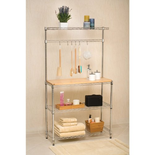 Seville Classics Baker's Rack for Kitchens, Solid Wood Top, 14'' x 36'' x 63'' H by Seville Classics (Image #3)