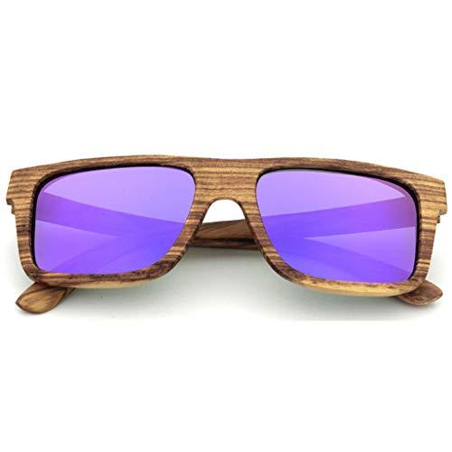 bambú Gafas de Los a de Hecha Deportes Hombres Color sol Los de Protección Gafas Madera de Polarizadas Mano de Moda de Vidrios Purple La del Marco Ultravioleta Los Amarillo C8qr4xCw
