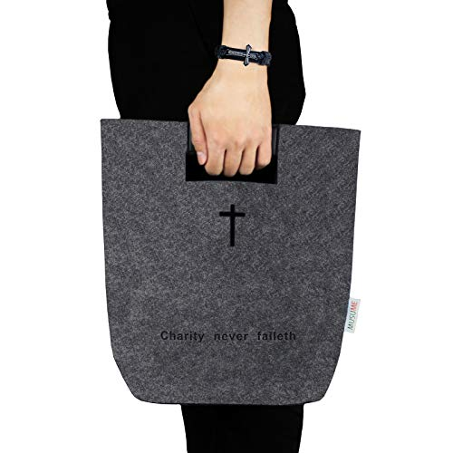 Bible Covers Bag with Carry Handle,Christian Art Gifts Tote for Women Men,Church Inscription Bangle, Religious Cross Design Bracelet for Mother Father Gift,Felt Bible Carrying Study Book Case (Gray)