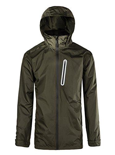 Mens Outdoor Front-Zip Rain Coat Olive-Green Medium
