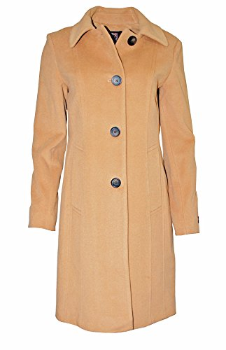 Anne Klein Women's Single Breasted Wool Cashmere Blend Walker Coat, Camel (0) - Anne Klein Cashmere