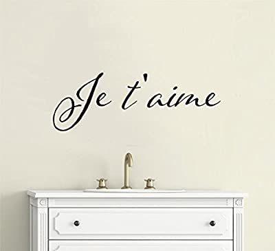 Enchantingly Elegant Je t'aime French I Love You Vinyl Decal Wall Decor Stickers Words Lettering Quote Home Decor Teen Room 33x12