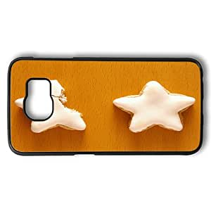 Samsung Galaxy S6 Case, Christmas Snacks Star Shaped Iced Biscuits Rugged PC Hard Case Back Cover for Samsung Galaxy S6 Black