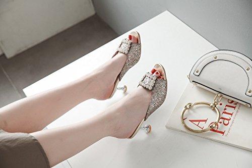 42 Verano Las Sandalias de Impresión Tamaño Señoras de Hebilla UN Rhinestone de de Alto Cuadrada Primavera Nueva Zapatos Color Gran Tamaño de Mujer Sandalias Tacón Zapatillas t4qwO