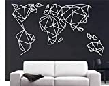 World Map Wall Art - Geometric World Map Wall Decals - Wall Decor Home Office Decoration Bedroom Living Room Decor Decorative Wall Stickers Removable Wall Mural Decals (39''W x 22''H / 99cm x 56cm)