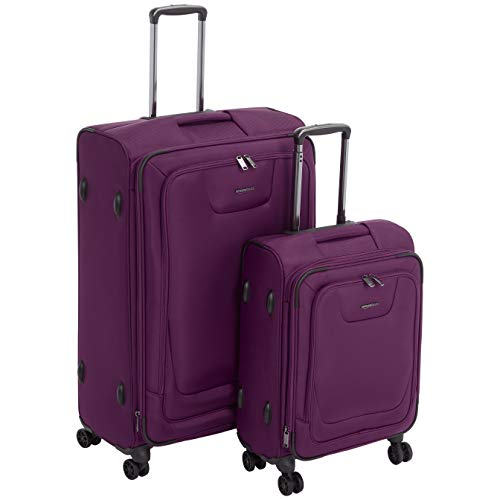 2 Piece Spinner Set - AmazonBasics 2 Piece Expandable Softside Spinner Luggage Suitcase With TSA Lock And Wheels Set - Purple