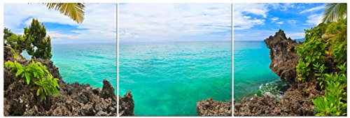 Stunning Views Peak Into Paradise Beach   Multi Panel Split Canvas Wall Art Set   24 X 24 3 Piece  Total Size 24 X 72 Inch    Gallery Wrapped   Framed D Cor Piece   Ready To Hang