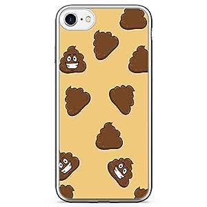 iPhone 7 Transparent Edge Phone Case Poop Emoji Phone Case Trendy College iPhone 7 Cover with Transparent Frame