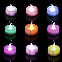 Homemory Color Changing LED Tea Lights, Battery Operate, Pack of 12, Flameless Flickering Bulb Electric Candles for Party and Home Decor