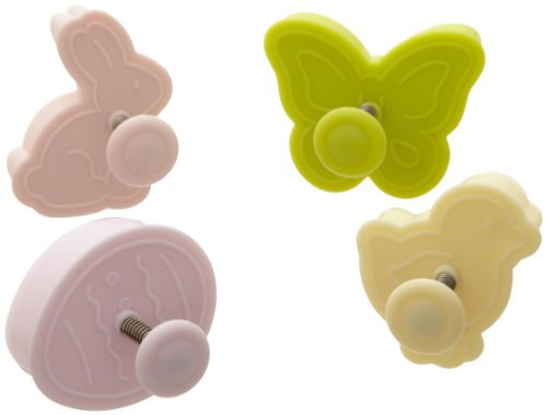 Ateco 1991 Easter Themed Plunger Cutters, Set of 4 Shapes for Cutting Decorations & Direct Embossing, Spring-loaded Handle, Food Safe Plastic