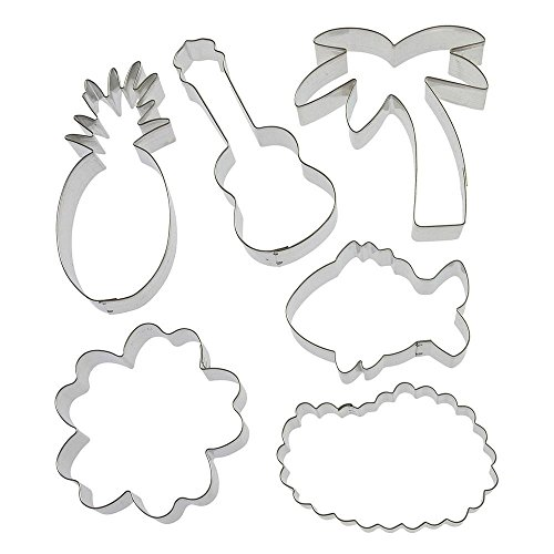 Aloha Cookie Cutter 6 Pc Set HS0425-5.25 in Guitar Ukulele, 3.75 in Hibisucs, 5.25 in Pineapple, 3.5 Tropical Fish, 4 in Lei, 5 in Palm Tree - Foose Cookie Cutters -