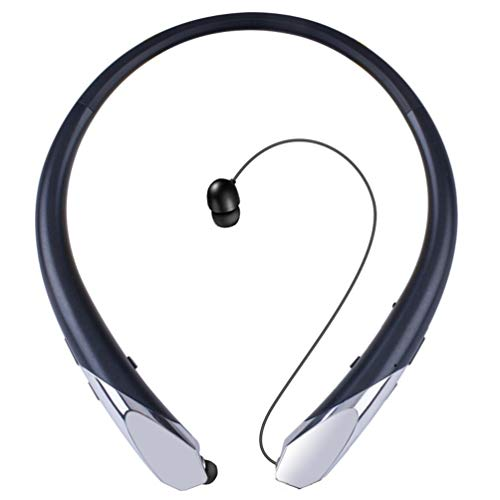 Bluetooth Headphones V4.1 Kikistep Retractable Headset Wireless Neckband Earbuds Sports Sweatproof Noise Cancelling Earphone with Mic (12 Hours Play Time, Black)