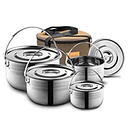 Camping Cookware Set – Compact Stainless Steel Campfire Cooking Pots and Pans | Combo Kit with Travel Tote Bag | Rugged…