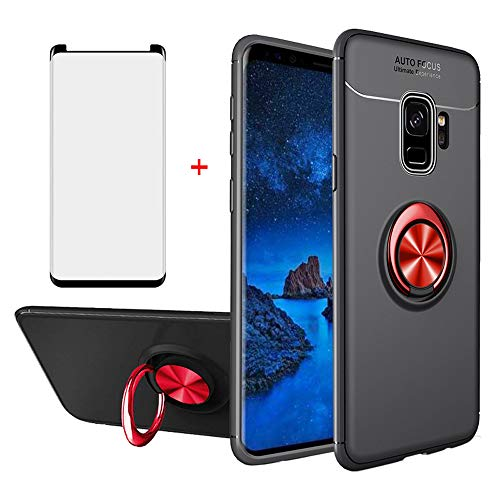 Phone Case for Samsung Galaxy S9 Plus with Tempered Glass Screen Protector Magnetic Mount Ring Holder Stand Kickstand Slim Thin Accessories Silicone Protective Glaxay S9plus S9+ S 9 Note 9S Edge 9plus