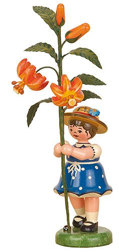 Small Figures & Ornaments Flower child girl with Lily - 17cm / 7inch - Hubrig Volkskunst