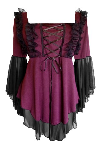 Dare to Wear Victorian Gothic Boho Women's Fairy Tale Corset Top Ruby S